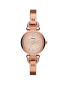 Fossil Ladies Small Rose Gold Tone Stainless Steel Georgia Three Hand Watch