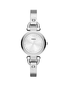 Fossil Ladies Silver Tone Stainless Steel Georgia Three Hand Watch