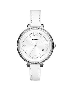 Fossil Silver-Tone Stainless Steel and White Leather Heather Three-Hand Watch
