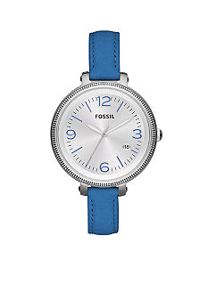Fossil Ladies Silver-Tone Stainless Steel and Blue Leather Heather Three-Hand Watch