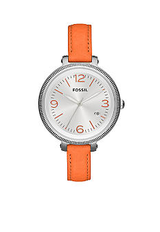 Fossil Ladies Silver-Tone Stainless Steel and Orange Leather Heather Three-Hand Watch