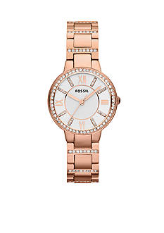 Fossil Women's Rose Gold-Tone Stainless Steel Virginia Three Hand Glitz Watch