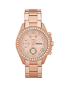 Fossil Women's Rose Gold-Tone Stainless Steel Chronograph Decker Glitz Watch