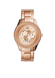 Fossil Women's Rose Gold-Tone Stainless Steel Stella Multifunction Glitz Watch