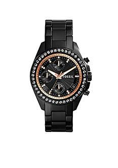 Fossil® Women's Black Stainless Steel Decker Chronograph Glitz Watch