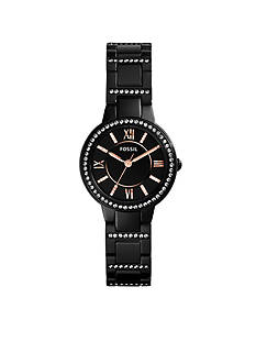 Fossil® Women's Black Stainless Steel Virginia Three-Hand Glitz Watch