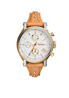 Fossil® Women's Tan Leather Original Boyfriend Chronograph Watch