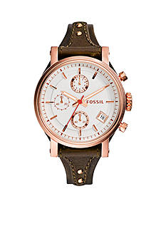Fossil Women's Brown Leather Orginial Boyfriend Chronograph Watch