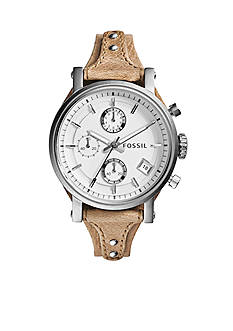 Fossil Women's Bone Leather Original Boyfriend Chronograph Watch