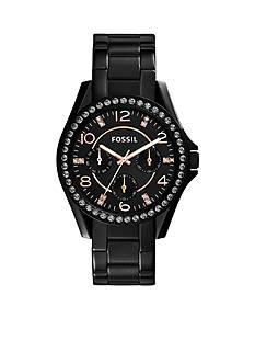 Fossil® Women's Black Stainless Steel Multifunction Glitz Watch