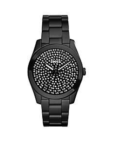 Fossil® Women's Black Stainless Steel Perfect Boyfriend Three Hand Glitz Watch