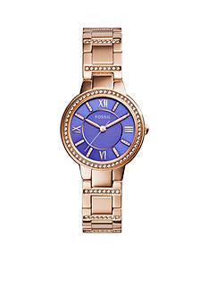 Fossil® Women's Rose Gold-Tone Stainless Steel Virginia Three Hand Glitz Watch