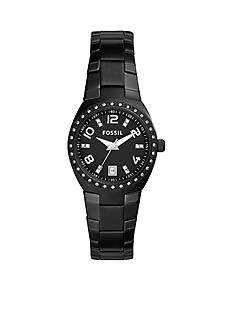 Fossil® Women's Black Stainless Steel Serena Three Hand with Date Glitz Watch