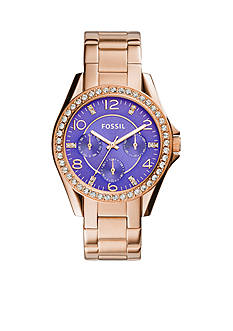 Fossil® Women's Rose Gold-Tone Stainless Steel Riley Multifunction Glitz Watch