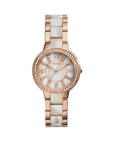 Fossil Women's Rose Gold-Tone Shimmer Horn Virginia Glitz Three Hand Watch