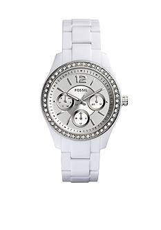 Fossil Women's Stella White Acetate Bracelet Multi-function Glitz Watch
