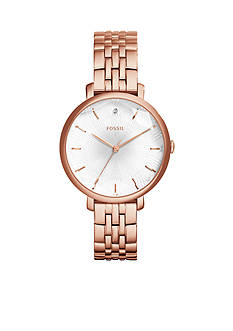 Fossil Women's Jacqueline Rose Gold-Tone Stainless Steel Bracelet 3-Hand Watch