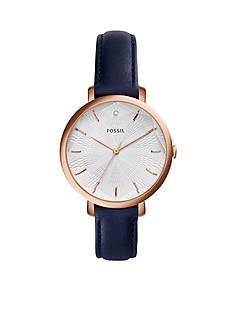 Fossil Women's Jacqueline Blue Leather 3-Hand Watch