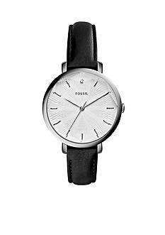 Fossil Women's Jacqueline Black Leather Strap 3-Hand Watch