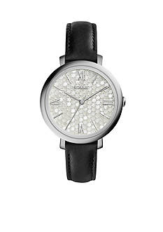 Fossil Women's Jacqueline Black Leather Strap Three-Hand Watch