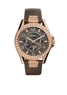Fossil Riley Gray Leather Strap Multifunction Glitz Watch