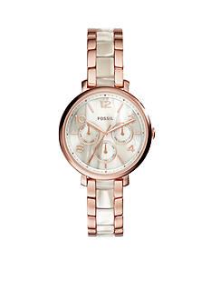 Fossil Jacquline Shimmer Horn And Rose Gold-Tone Multi Function Watch