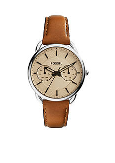Fossil Women's Tailor Brown Leather Multifunction Watch