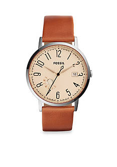 Fossil Women's Vintage Muse Stainless Steel Brown Leather Strap Three-Hand Watch