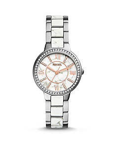 Fossil Women's Virginia Stainless Steel and White Reconstituted Stone Three- Hand Glitz Watch