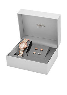 Fossil Women's Virginia Rose-Gold Tone Stainless Steel and Shimmer Horn Bracelet Watch - Box Set