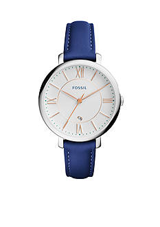 Fossil Women's Jacqueline Blue Leather Three-Hand Watch