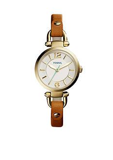 Fossil Women's Georgia Dark Brown Leather Strap Three-Hand Watch