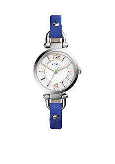 Fossil Women's Georgia Blue Leather Three-Hand Watch