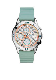 Fossil Women's Modern Pursuit Seaglass Blue Silicone Strap Chronograph Watch