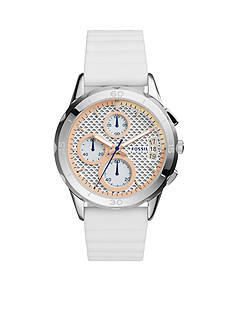 Fossil Women's Modern Pursuit White Silicone Strap Chronograph Watch