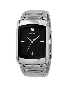 Fossil® Mens Rectangle Black Dial with Diamond