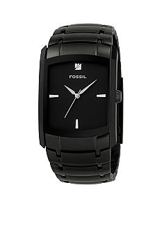 Fossil Dress Rectangular Watch - Black IP with diamond