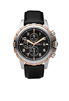 Fossil Dean Black Dial with Black Leather Strap