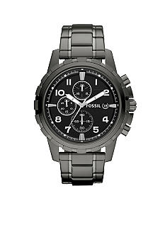 Fossil Mens Smoke Gray Stainless Steel Dean Chronograph Watch
