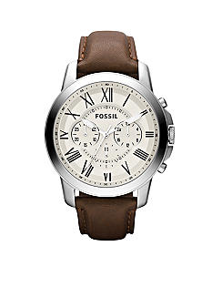 Fossil Men's Stainless Steel Silver Tone and Brown Leather Round Chronograph Grant Watch