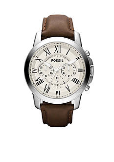 Fossil® Men's Stainless Steel Silver Tone and Brown Leather Round Chronograph Grant Watch