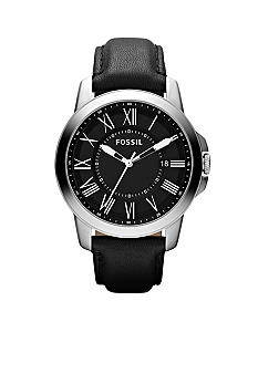 Fossil Men's Black Leather and Stainless Steel Grant Watch