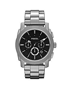Fossil Men's Machine Stainless Steel and Black Dial Chronograph Watch