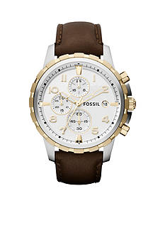 Fossil Men's Brown Leather and Two-Tone Stainless Steel Chronograph Dean Watch