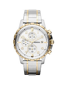 Fossil Men's Silver-Tone and Gold-Tone Stainless Steel Dean Chronograph Watch