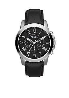 Fossil Mens Stainless Steel and Black Leather Grant Chronograph Watch