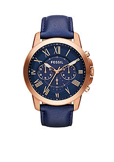 Fossil Men's Blue Leather and Rose Gold-Tone Stainless Steel Chronograph Grant Watch
