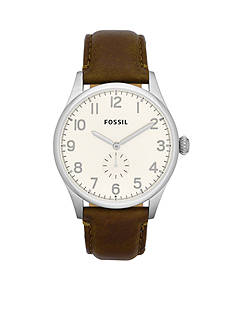 Fossil® Men's Brown Leather and Silver-Tone Stainless Steel Three-Hand Agent Watch