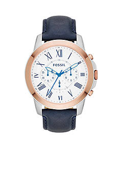 Fossil Men's Blue Leather Chronograph Grant Watch