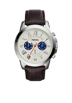 Fossil Men's Black Leather Grant Chronograph Watch